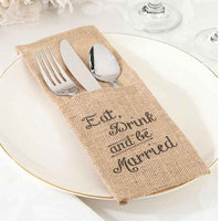 """Eat, Drink and be Married"" Burlap Silverware Holders (set of 4)-Decor-Table-Here Comes The Bling™"