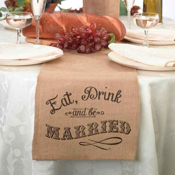 """Eat, Drink and Be Married"" Burlap Table Runner-Decor-Table Runner-Here Comes The Bling™"