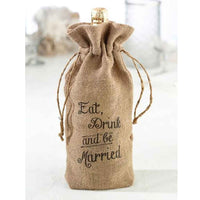 """Eat, Drink and Be Married"" Burlap Wine Bag-Wine Bags-Here Comes The Bling™"