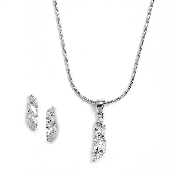 Elegant CZ Marquis Trio Necklace & Earrings Set for Prom or Bridesmaids-Sets-Here Comes The Bling™