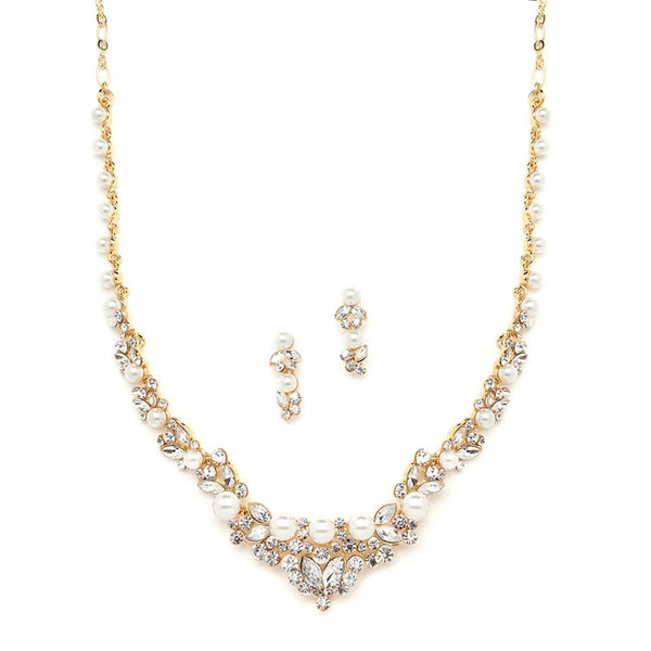 Elegant Gold Wedding Necklace Set with Crystals & Pearl Cluster-Sets-Here Comes The Bling™