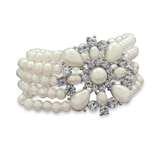 Elegant Pearl Fashion Bracelet with Crystal-Bracelets-Here Comes The Bling™