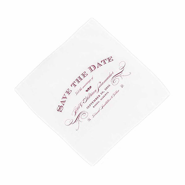 """Elegant Type"" Save The Date Personalized Handkerchief-Hankie-Here Comes The Bling™"