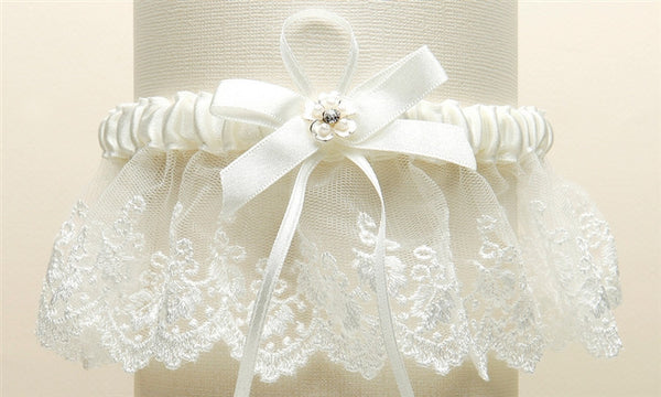 Embroidered Ivory Lace Scalloped Garter with Brushed Silver Flower-Garters-Here Comes The Bling™