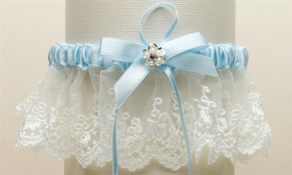 Embroidered Ivory Lace Scalloped Something Blue Bridal Garter-Garters-Here Comes The Bling™