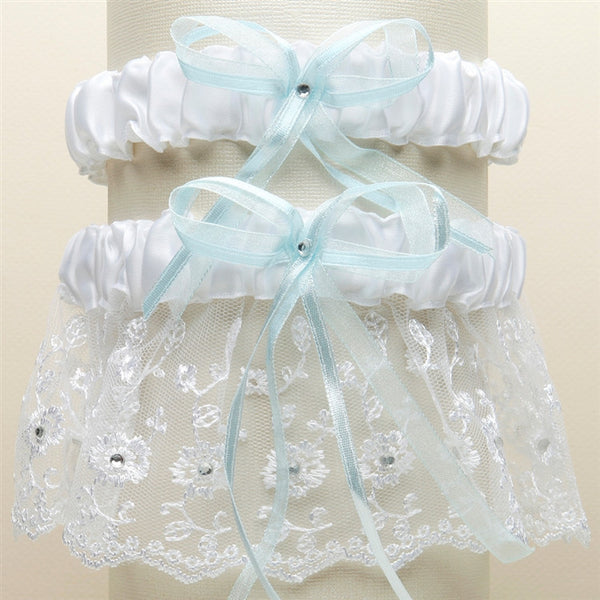 Embroidered Wedding Garter Sets with Scattered Crystals - White with Blue-Garters-Here Comes The Bling™