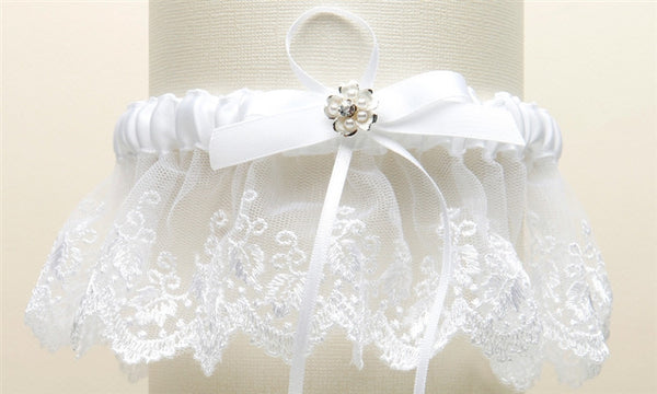Embroidered White Lace Scalloped Garter with Brushed Silver Flower-Garters-Here Comes The Bling™