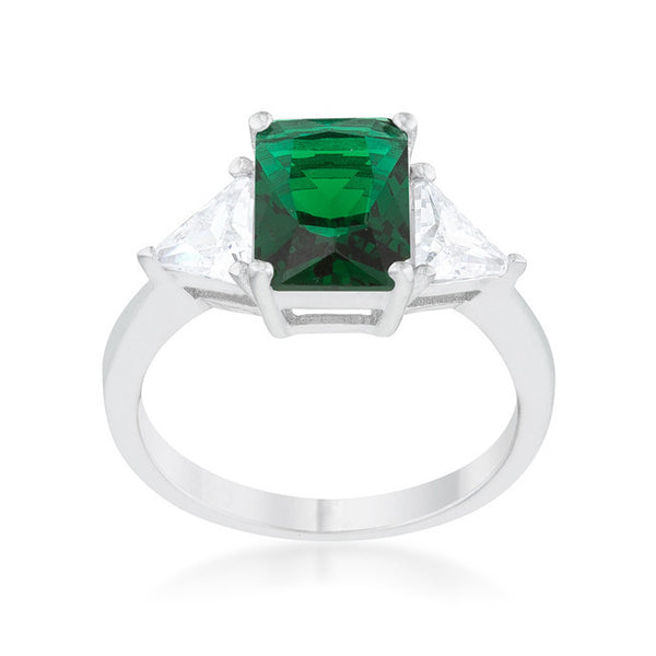 Emerald Cut Emerald Green Sapphire and CZ Ring in inSterling Silver-Rings-Here Comes The Bling™