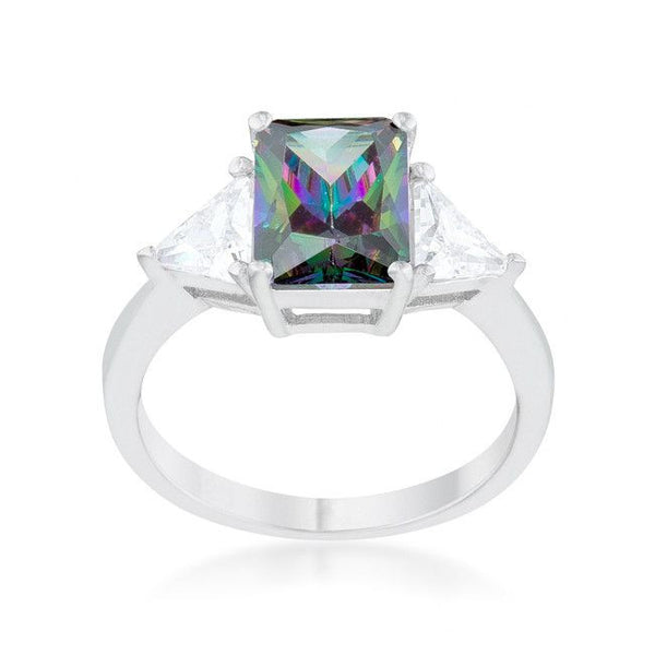 Emerald Cut Mystic Sapphire and CZ Ring in inSterling Silver-Rings-Here Comes The Bling™