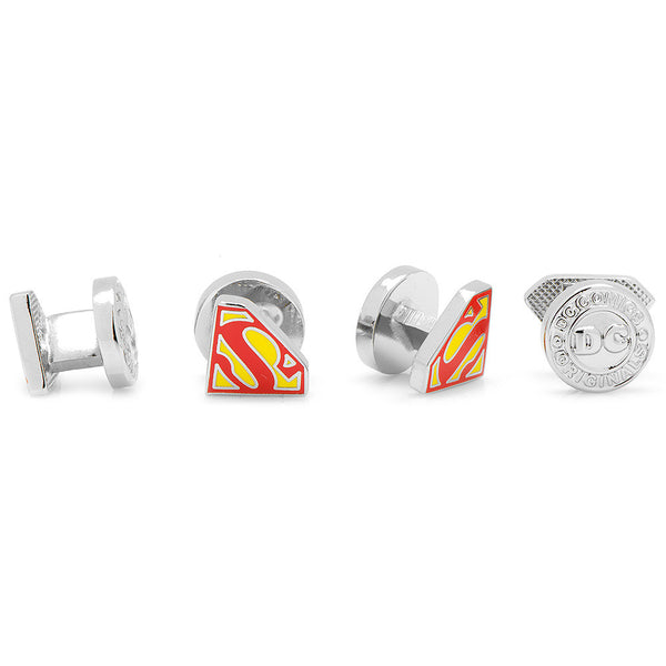 Enamel Superman Shield Tuxedo Studs-Tux Stud Set-Here Comes The Bling™