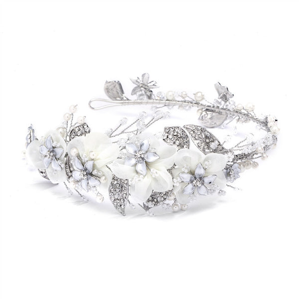 Enchanting Side Design Bridal Tiara Headband with Organza-Headband-Here Comes The Bling™