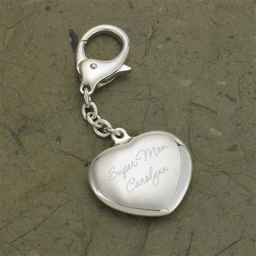 Engraved Heart Silver Plated Key Chain-Keychain-Here Comes The Bling™