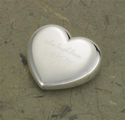 Engraved Silver Plated Heart Paper Weight-Paper Weight-Here Comes The Bling™