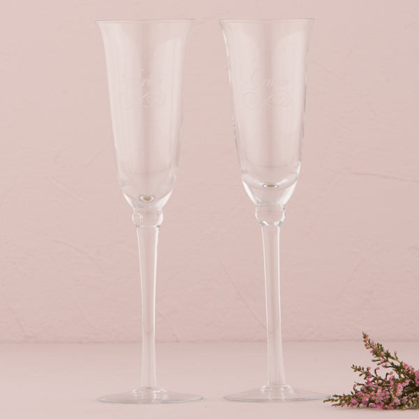 Etched Wedding Champagne Flutes (in 6 styles - including bridal party members)-Toasting Flutes-Here Comes The Bling™