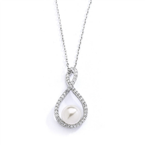 Eternity Symbol Cubic Zirconia Wedding Necklace with Pearl-Necklaces-Here Comes The Bling™