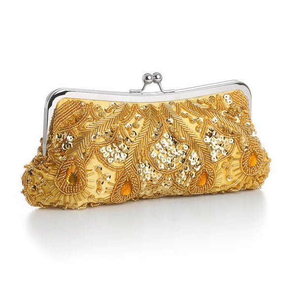 Evening Bag with Beads, Sequins & Gems in Gold-Clutch-Here Comes The Bling™
