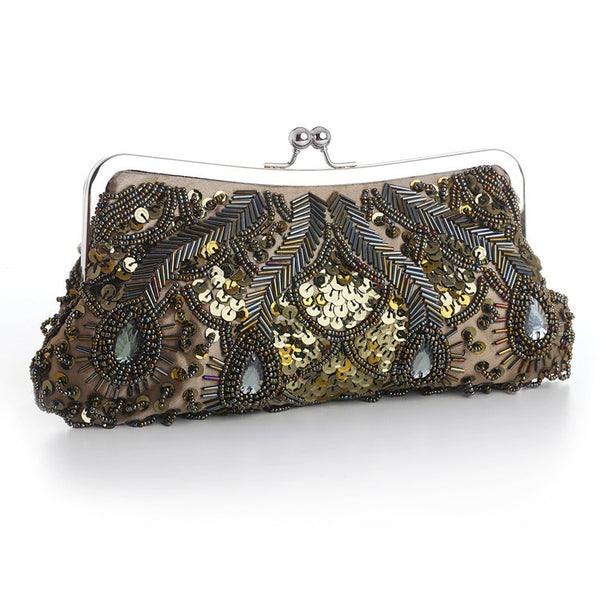 Evening Bag with Beads, Sequins & Gems in Olive Green-Clutch-Here Comes The Bling™