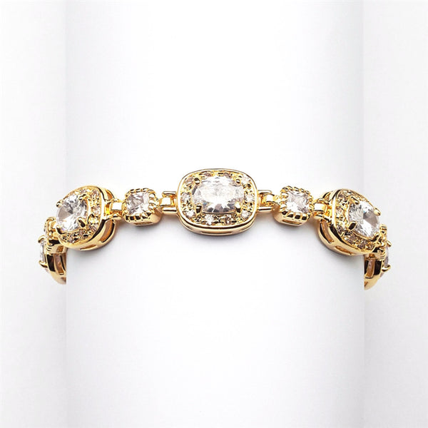 Exclusive Petite Designer CZ Gold Bridal Bracelet-Bracelets-Here Comes The Bling™