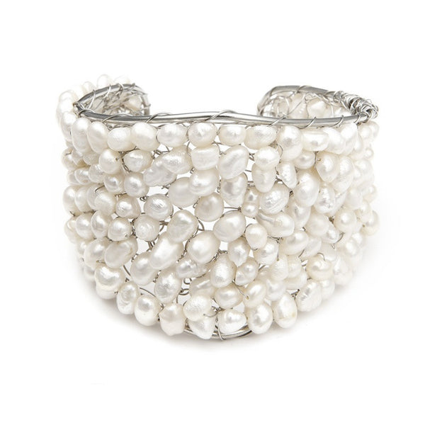 Exotic Freshwater Pearl Bridal Cuff Bracelet-Bracelets-Here Comes The Bling™