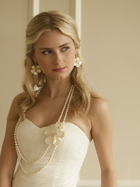 Exotic Freshwater Pearl Bridal Necklace with Flowers-Necklaces-Here Comes The Bling™