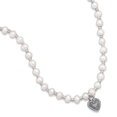 Extension Cultured Freshwater Pearl/Silver Bead Necklace with Oxidized Heart-Necklaces-Here Comes The Bling™