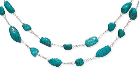 Extension Double Strand Reconstituted Turquoise Nugget Necklace-Necklaces-Here Comes The Bling™