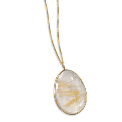 Extension Gold and Rutilated Quartz Necklace-Necklaces-Here Comes The Bling™