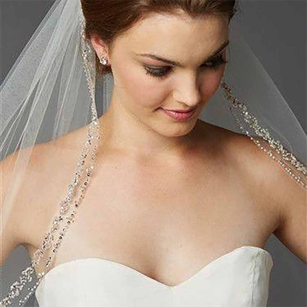 Glamorous Beaded Swarovski Crystal Fingertip Wedding Veil