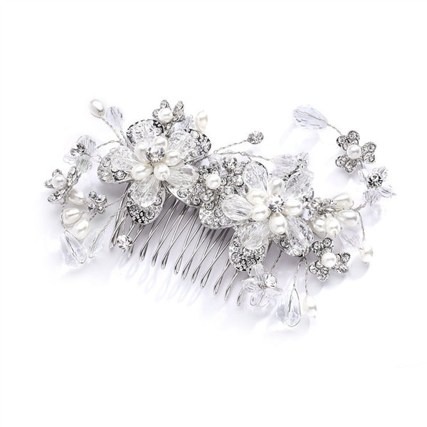 Fabulous Wedding or Brides Hair Comb with Pearl and Crystal Sprays-Combs-Here Comes The Bling™