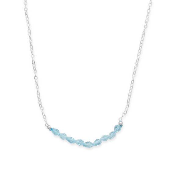 Faceted Blue Topaz Bead Necklace December Birthstone-Necklaces-Here Comes The Bling™