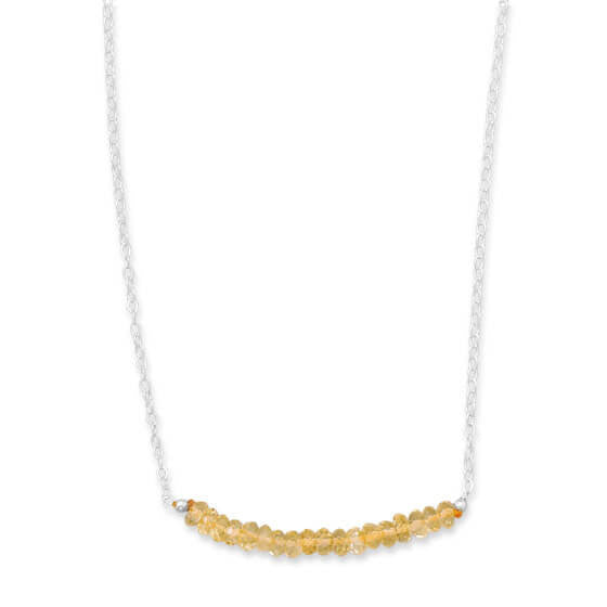 Faceted Citrine Bead Necklace November Birthstone-Necklaces-Here Comes The Bling™