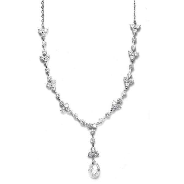 Faceted Crystal Drop CZ Bridal Necklace-Necklaces-Here Comes The Bling™