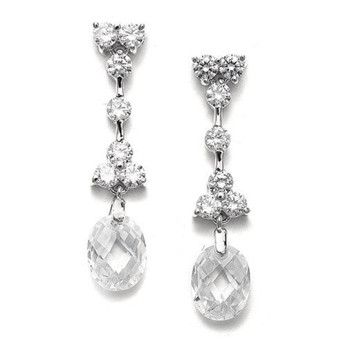 Faceted Crystal Drop CZ Earrings-Earrings-Here Comes The Bling™