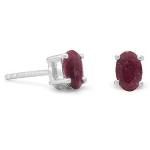 Faceted Oval Dyed Corundum Earrings-Earrings-Here Comes The Bling™