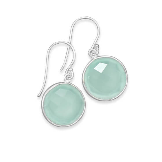 Faceted Sea Green Chalcedony Earrings-Earrings-Here Comes The Bling™