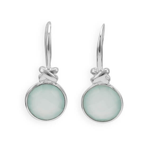 "Faceted Sea Green Chalcedony Earrings with ""X"" Design-Earrings-Here Comes The Bling™"