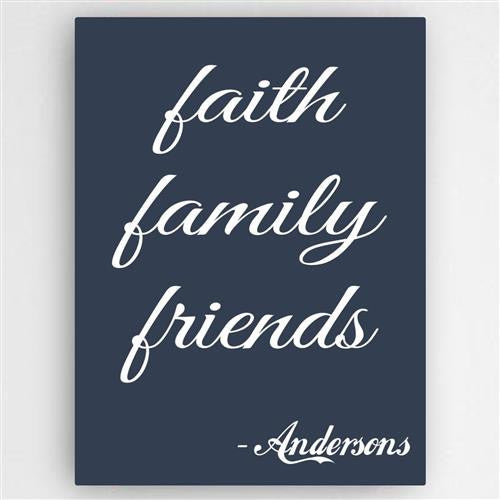 Family and Faith Canvas Sign-Sign-Here Comes The Bling™