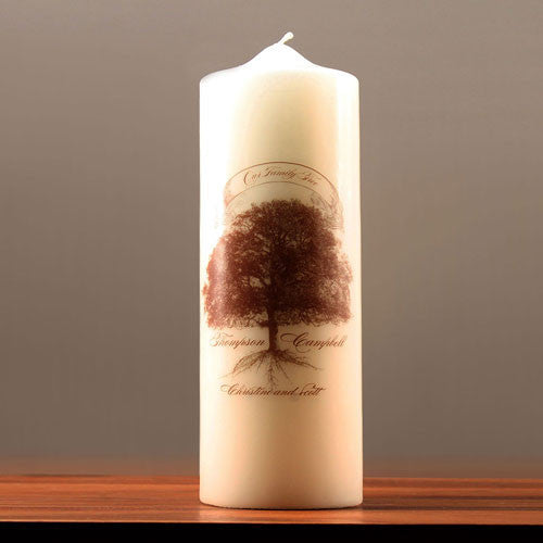 Family Oak Tree Personalized Pillar Candles-Unity Candle-Here Comes The Bling™