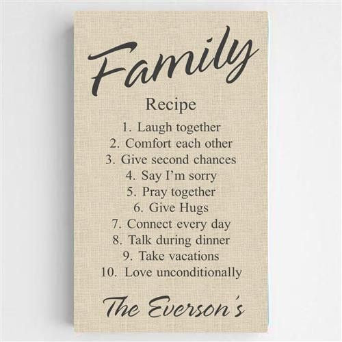 Family Recipe Canvas Sign-Sign-Here Comes The Bling™