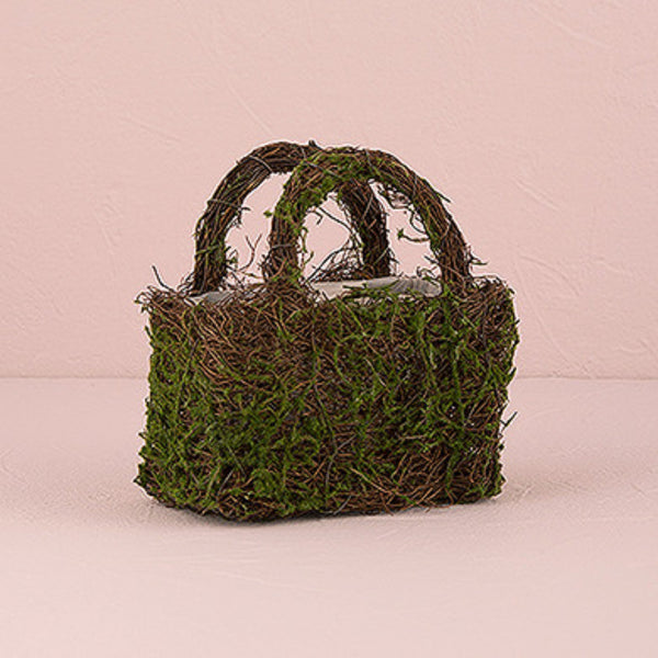 Faux Moss and Wicker Basket with Handles and Liner-Flower Basket-Here Comes The Bling™