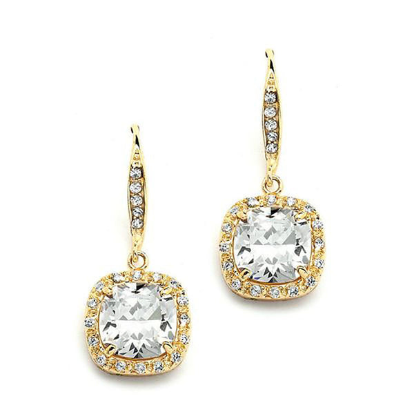 Fifth Avenue 14K Gold Cushion Cut CZ Earrings-Earrings-Here Comes The Bling™