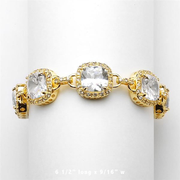 Fifth Avenue Gold Cushion Cut CZ Bracelet-Bracelets-Here Comes The Bling™