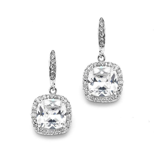 Fifth Avenue Rhodium Silver Cushion CZ Earrings-Earrings-Here Comes The Bling™