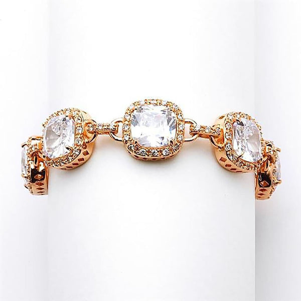 Fifth Avenue Rose Gold Cushion Cut Bracelet-Bracelets-Here Comes The Bling™