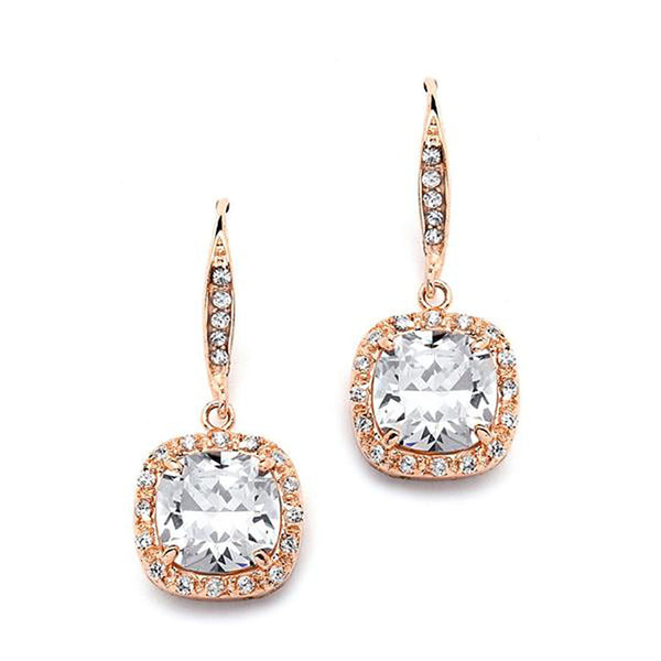 Fifth Avenue Rose Gold Cushion Cut CZ Earrings-Earrings-Here Comes The Bling™