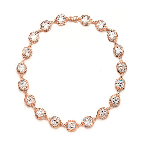 Fifth Avenue Rose Gold Cushion Cut CZ Necklace-Necklaces-Here Comes The Bling™