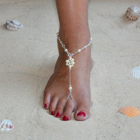 Filigree Barefoot Bridal Sandal Foot Jewelry with Ivory Glass Pearls and Crystals-Foot Jewelry-Here Comes The Bling™