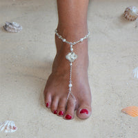 Filigree Barefoot Bridal Sandal Foot Jewelry with White Glass Pearls and Crystals-Foot Jewelry-Here Comes The Bling™