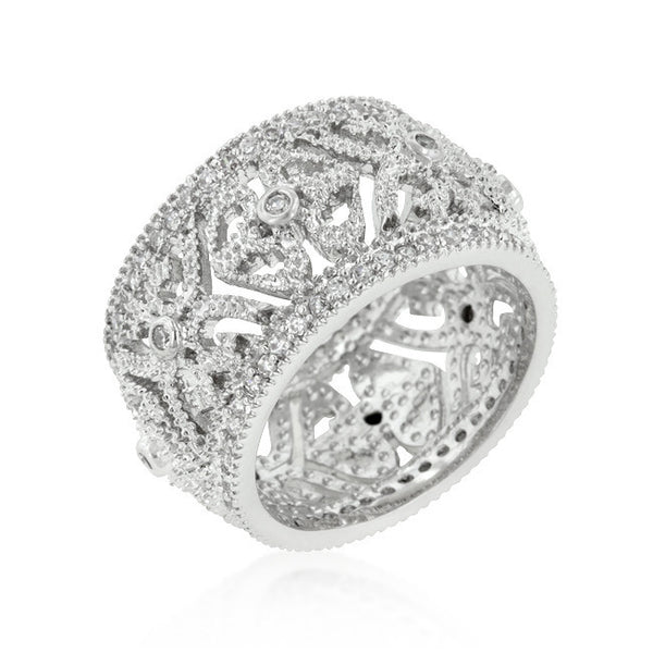 Filigree Crest Eternity Ring-Rings-Here Comes The Bling