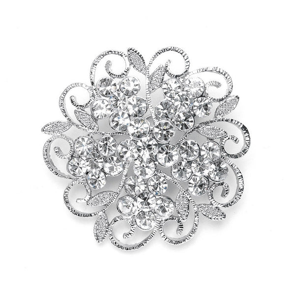 Filigree Crystal Flower Wedding or Prom Pin-Brooches-Here Comes The Bling™